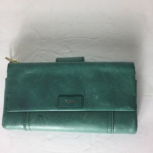"""Fossil Green 10 Card Slot Change 4/7"""" Chic Wallet"""